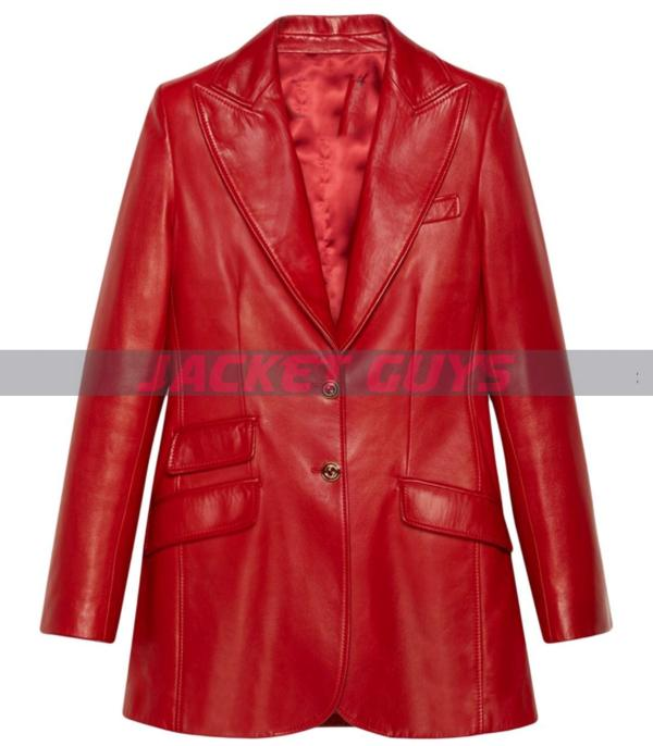 shop now red leather blazer for women