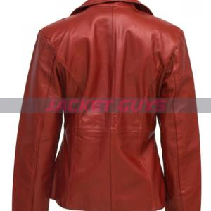 on sale red leather jacket
