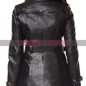 buy now short black leather coat