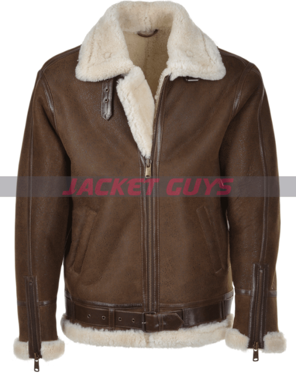 for sale mens brown shearling leather jacket