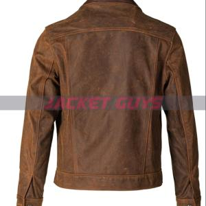 on discount mens brown distressed leather jacket