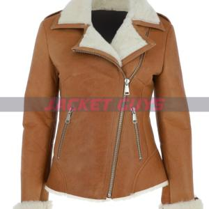 buy now ladies shearling leather jacket