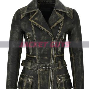 buy now ladies distress trench leather jacket