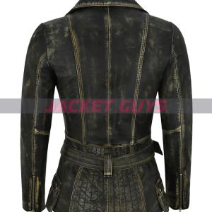 ladies distress trench leather jacket on sale