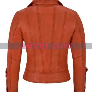 on sale ladies orange leather jacket