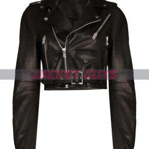 women's cropped leather jacket buy now
