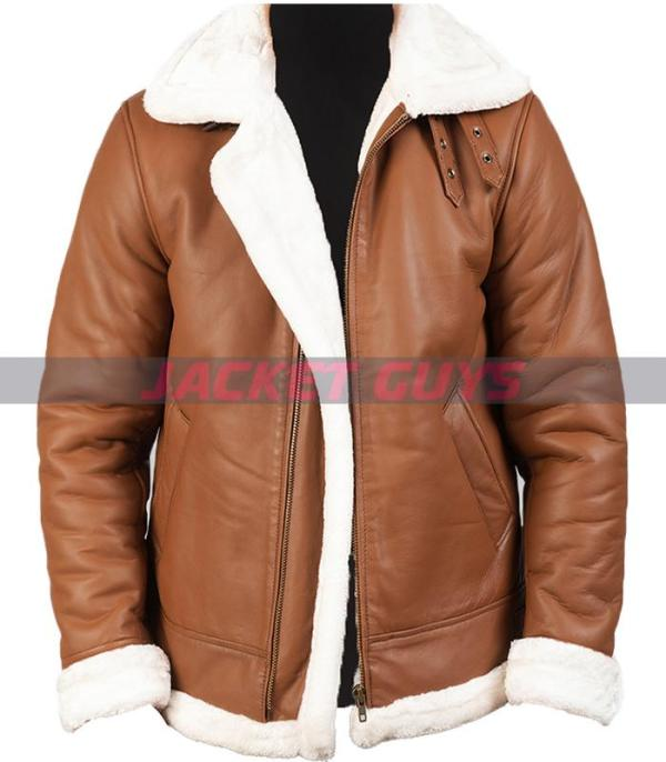 mens brown shearling leather jacket buy now