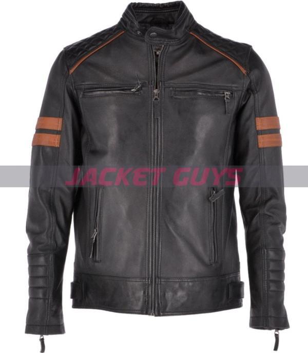 buy now men black leather jacket