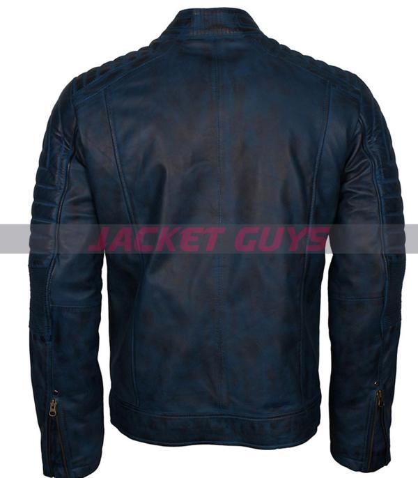 shop now mens blue distress leather jacket