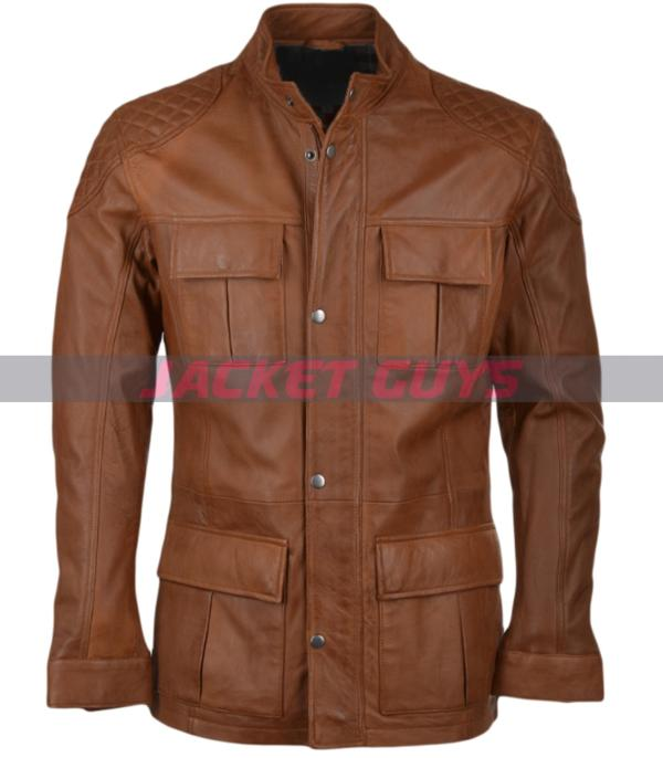 men brown leather jacket on sale