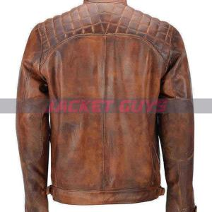 mens brown distress leather jacket on sale