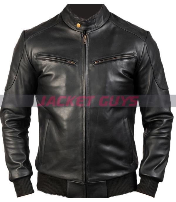 mens sleek black leather jacket for sale
