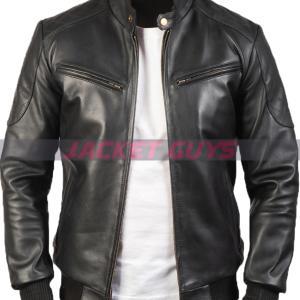 purchase now mens sleek black leather jacket