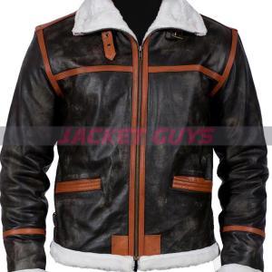 mens black shearling orange stripe leather jacket on sale