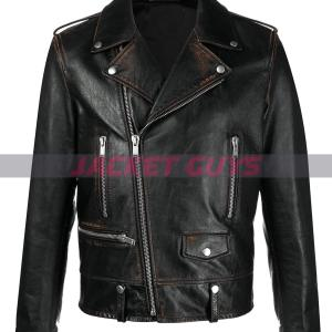 mens distress biker leather jacket on sale