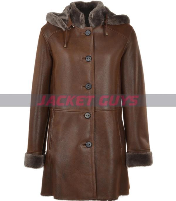women dark brown long leather coat on sale