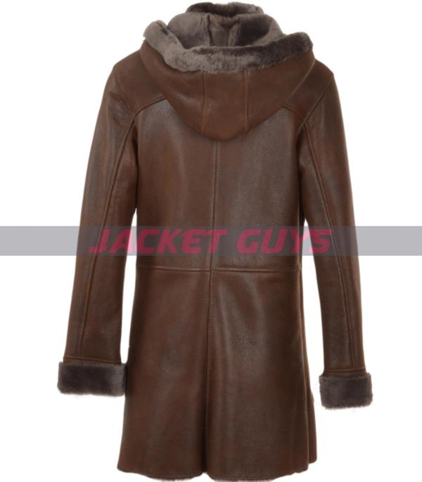 for sale women dark brown long leather coat