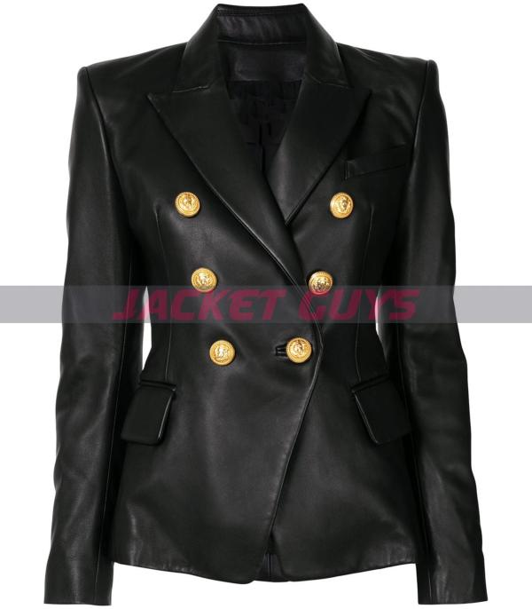 for sale womens buttoned leather blazer