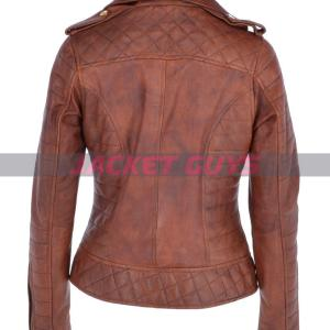 get now ladies brown biker leather jacket