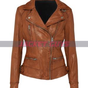 ladies tan brown distress leather jacket on sale