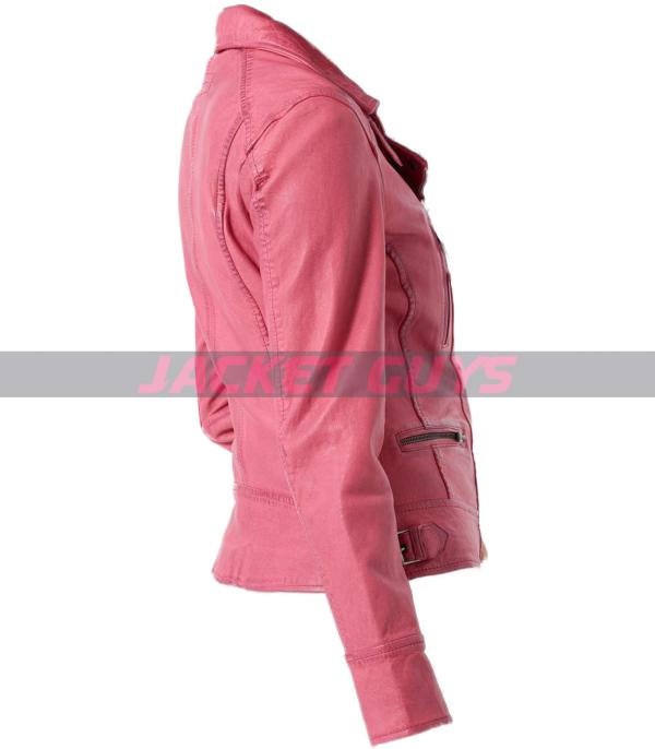buy now women pink distress leather jacket