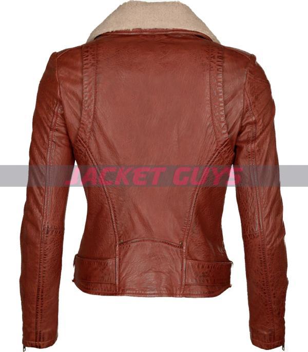 women shearling distress leather jacket shop now