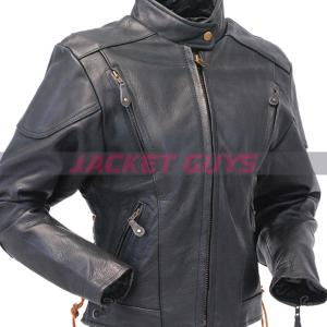 women vented leather jacket on sale