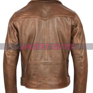 buy now men brown distress biker leather jacket