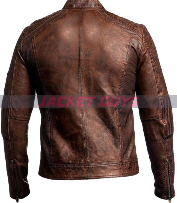 buy now men brown cafe racer leather jacket