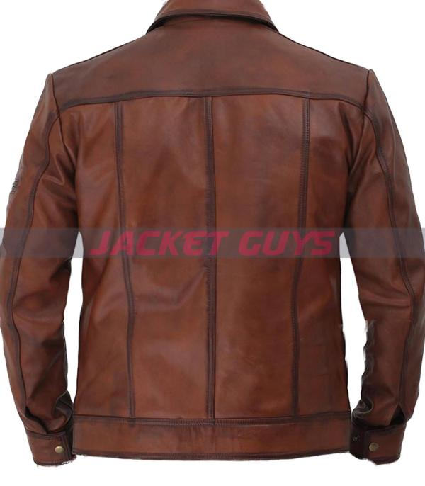 on discount men brown distress leather jacket