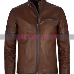 buy now dark brown leather jacket for men