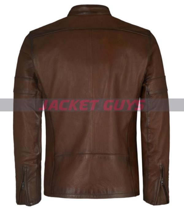 on sale dark brown leather jacket for men