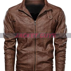 men brown distress leather jacket on sale
