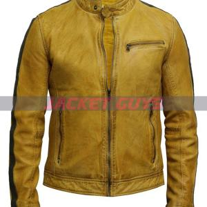 get now men distress yellow leather jacket on sale