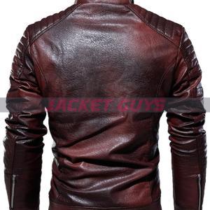 men distress dark brown leather jacket on sale