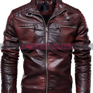 shop now men distress dark brown leather jacket