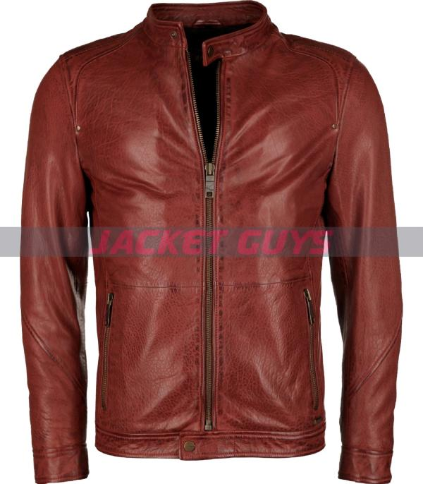 get now men distress red leather jacket