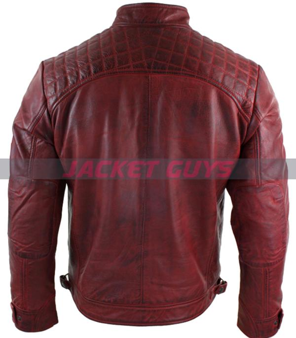 get now men red distressed leather jacket