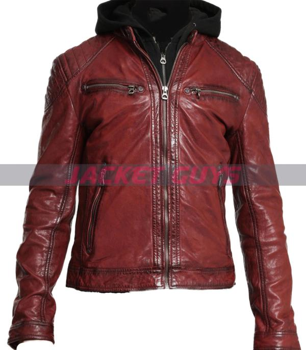 purchase now men red hood distress leather jacket
