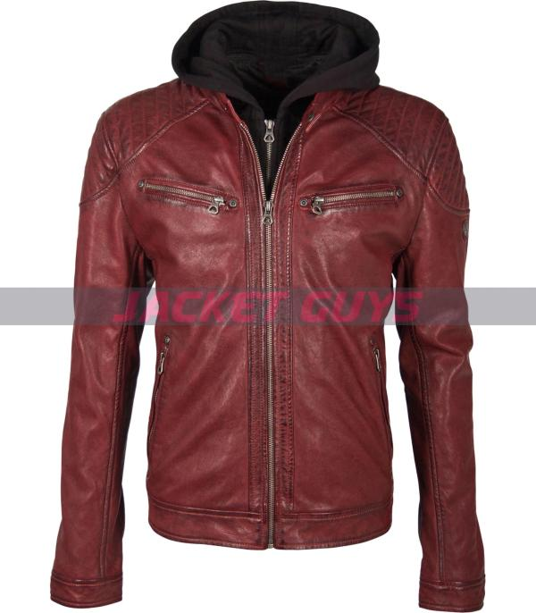 men red hood distress leather jacket on sale