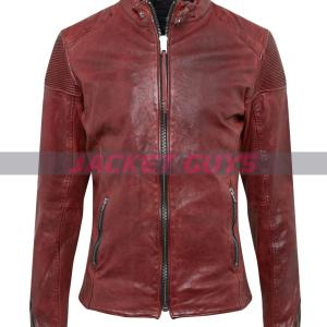men distress red leather jacket on sale