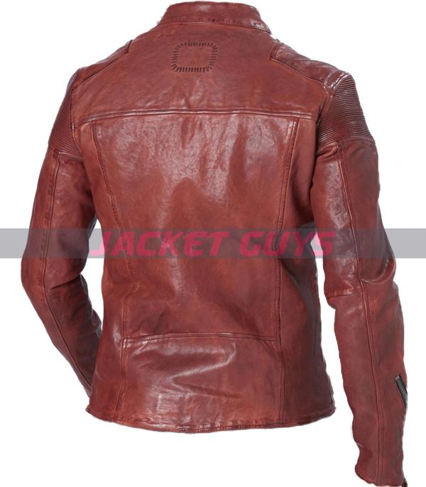 men distress red leather jacket buy now