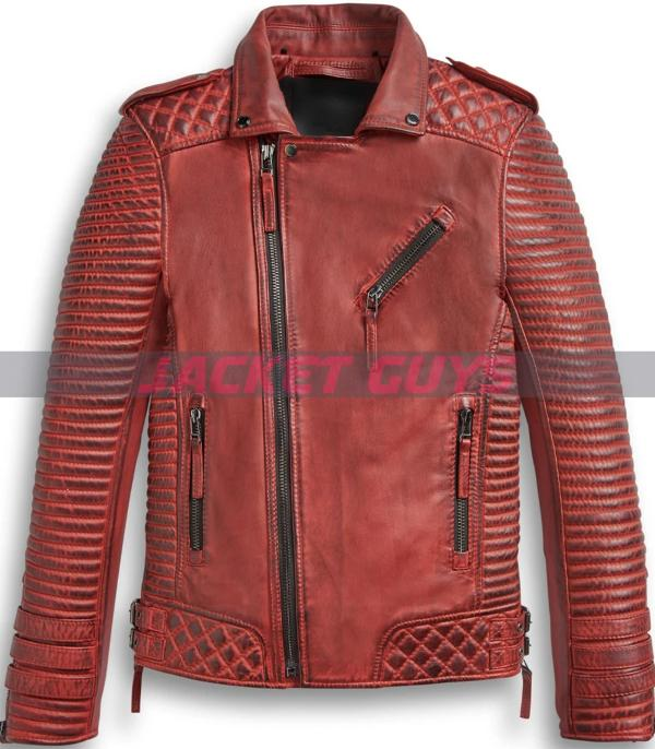 men red burnt leather jacket on discount