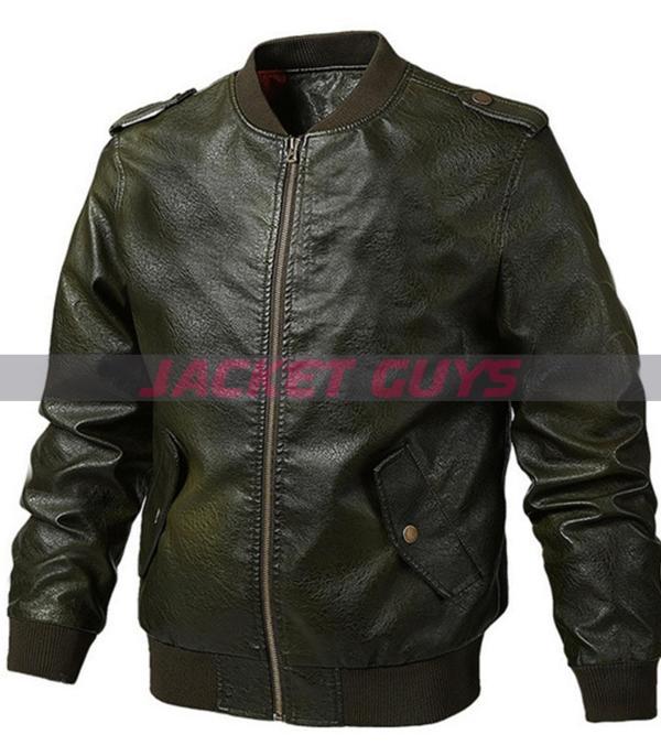 men green sleek leather jacket on sale