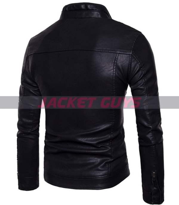on discount men slim fit black biker leather jacket