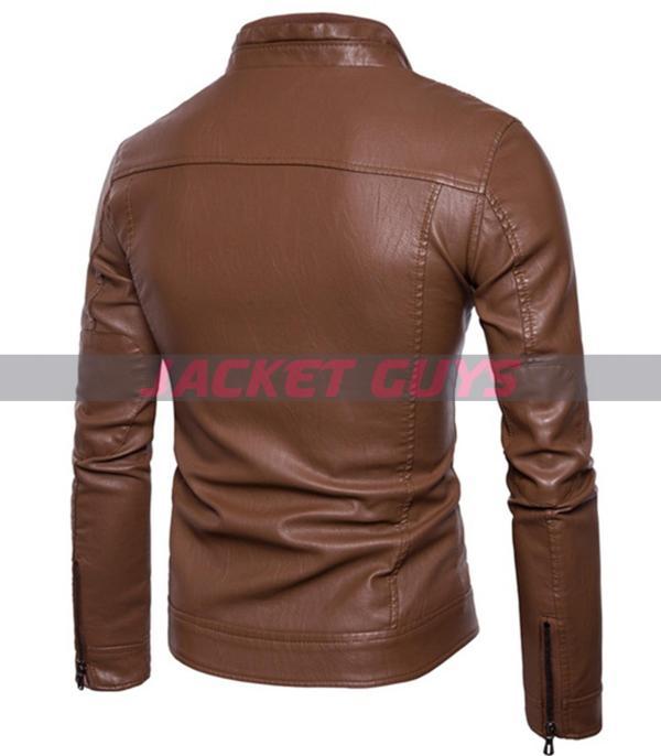 men slim fit brown biker leather jacket buy now
