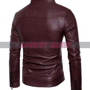 men slim fit burgundy biker leather jacket buy now