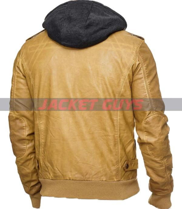 buy now men yellow hooded distress leather jacket