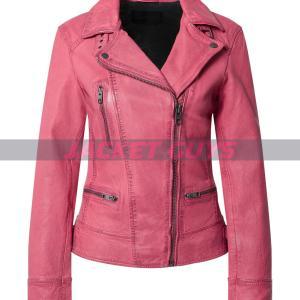 shop now women pink distress leather jacket