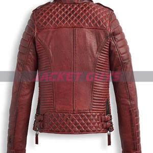 buy now women red burnt leather jacket
